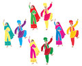 Bhangra entertainment an illustration of traditional punjabi dancing with four couples dressed in colorful costumes on a white Stock Images