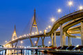 Bhumibol bridge also casually call as industrial ring road samut prakarn thailand Royalty Free Stock Images