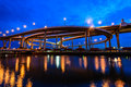 The bhumibol bridge also known as the industrial ring road bridg at twilight bangkok thailand Royalty Free Stock Image