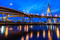 The bhumibol bridge also known as the industrial ring road bridg at twilight bangkok thailand Stock Image