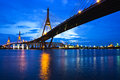 Bhumibol bridge and in bangkok of thailand Royalty Free Stock Photography
