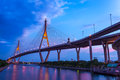 The bhumibol bridge bangkok thailand august also known as industrial ring road is impotent way for connect bangkok with Royalty Free Stock Images