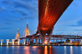 Bhumibol bridge the industrial ring bridge or mega bridge at dusk in thailand located at bangkok harbor Royalty Free Stock Photos