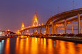 Bhumibol bridge night city in bacgkok Royalty Free Stock Images