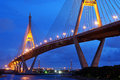 Bhumibol bridge at night with light bangkok thailand Royalty Free Stock Image