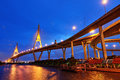 Bhumibol bridge at night with light bangkok thailand Royalty Free Stock Photo
