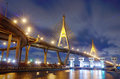 Bhumibol bridge at night with light bangkok thailand Royalty Free Stock Images