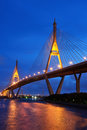 Bhumibol bridge at night with light bangkok thailand Stock Photo