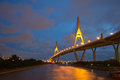 Bhumibol Bridge of Thailand Stock Photo