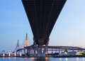Bhumibol Bridge at twilight Royalty Free Stock Photos