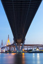 Bhumibol Bridge, at twilight Royalty Free Stock Images
