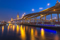 The Bhumibol Bridge at twilight Royalty Free Stock Photography