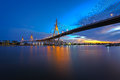 The bhumibol bridge at twilight industrial ring road bangkok thailand Royalty Free Stock Images
