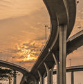 Bhumibol bridge under sunset thailand Stock Images