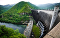 Bhumibol dam hydro power plant the is a concrete arch on the ping river the is the biggest in Royalty Free Stock Photo