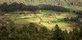 Bhutan village in mountain valley Royalty Free Stock Photo