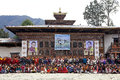 Bhutanese people and tourists at the gangtey monastery gangteng bhutan in traditional clothes are attending ceremony during black Royalty Free Stock Photos