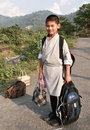 A bhutanese school boy Royalty Free Stock Photos