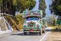 Bhutanese truck a typical near chapcha at the road from thimpu to phuentshoelling Stock Image