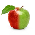 Bi color apple on white background red and green with leaf Royalty Free Stock Photography
