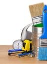 Biały instrumentów narzędzia odosobneni ustaleni Fotografia Royalty Free