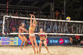 Bianca Zass scoring past Kristel Keins for the last point of the match in the finals of Ljubljana Beach Volley challenge Royalty Free Stock Photo
