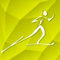 Biathlon icon on textured yellow background vector illustration eps Stock Image