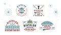 Biathlon logo Set. Vector Illustration. Winter sport Isolated badges collection for design