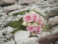 Biały różowe bukiet róże Obraz Royalty Free