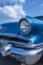 Biberach, Germany, 31 August 2015: American vintage car, close-up of front detail Royalty Free Stock Photo