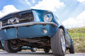Biberach, Germany, 31 August 2015:: American vintage car, close-up of Ford front detail Royalty Free Stock Photo