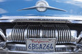 Biberach, Germany, 31 August 2015:: American vintage car, close-up of Pontiac front detail Royalty Free Stock Photo