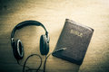 Bible headphone sound Royalty Free Stock Photo