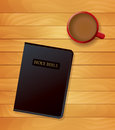 Bible and coffee devotional concept illustration an of a cup of a sitting on wood religious vector eps available Royalty Free Stock Image