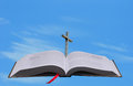 Bible, cross and heaven conept Royalty Free Stock Photo
