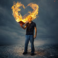 Bible and fire heart Royalty Free Stock Photo