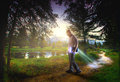 Bible leaving a trail of light Royalty Free Stock Photo