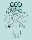 Bible lettering god bless you and little angel with a falling star Royalty Free Stock Photos
