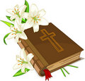 Bible and lily flowers Royalty Free Stock Image