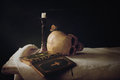 Bible, Skull, Candle as Symbol for Life, Death and Resurrection Royalty Free Stock Photo