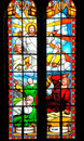 Bible story about Jesus on stained glass Stock Photography