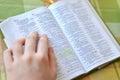 Bible study i hand and christian closeup Stock Photography