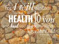 For I Will Restore Health design for Christianity with stones background. Royalty Free Stock Photo