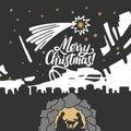 Biblical illustration. Christmas story. Mary and Joseph with the baby Jesus. Nativity scene near the city of Bethlehem Royalty Free Stock Photo