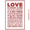 Biblical phrase from 1 corinthians 13:8, love never fails Royalty Free Stock Photo