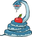 Biblical serpent with an apple on a white background Stock Photography