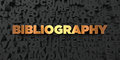 Bibliography - Gold text on black background - 3D rendered royalty free stock picture Royalty Free Stock Photo
