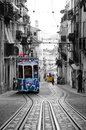 Bica streetcars typical and secular lisbon trams portugal this funicular elevators connect the historic and picturesque district Royalty Free Stock Photos