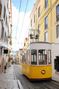 Bica Cable Car - Typical Lisbon Yellow Trams Royalty Free Stock Photo