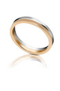 Bicolour gold wedding band or ring with rose and either white or platinum side by side in parallel in a plain Stock Images